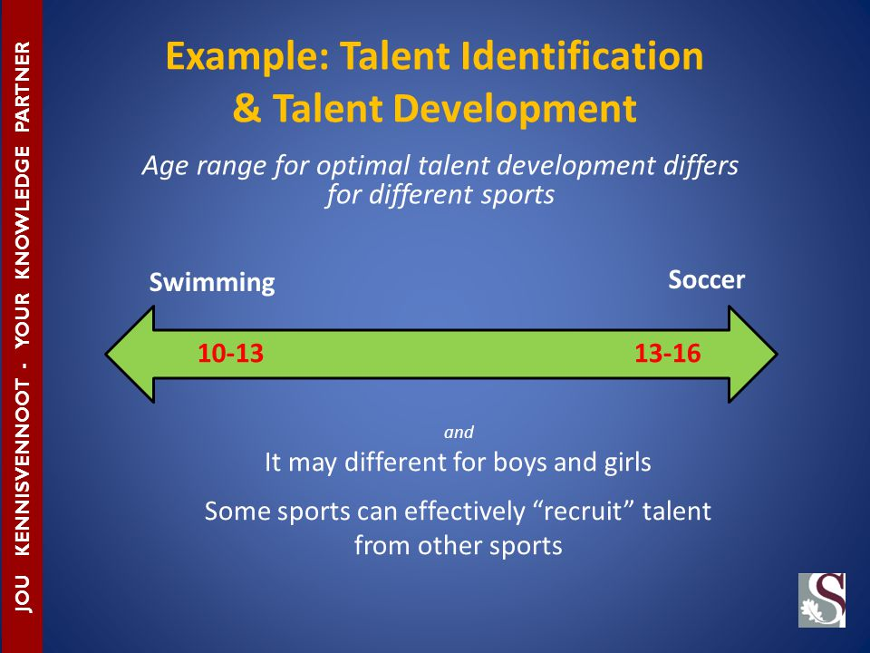 Example: Talent Identification & Talent Development JOU KENNISVENNOOT - YOUR KNOWLEDGE PARTNER Age range for optimal talent development differs for different sports Soccer Swimming 10-1313-16 and It may different for boys and girls Some sports can effectively recruit talent from other sports