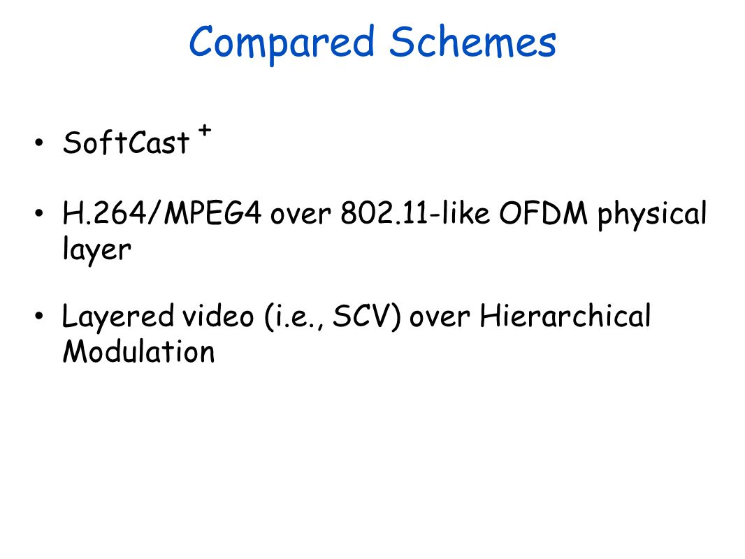 Compared Schemes SoftCast + H.264/MPEG4 over 802.11-like OFDM physical layer Layered video (i.e., SCV) over Hierarchical Modulation