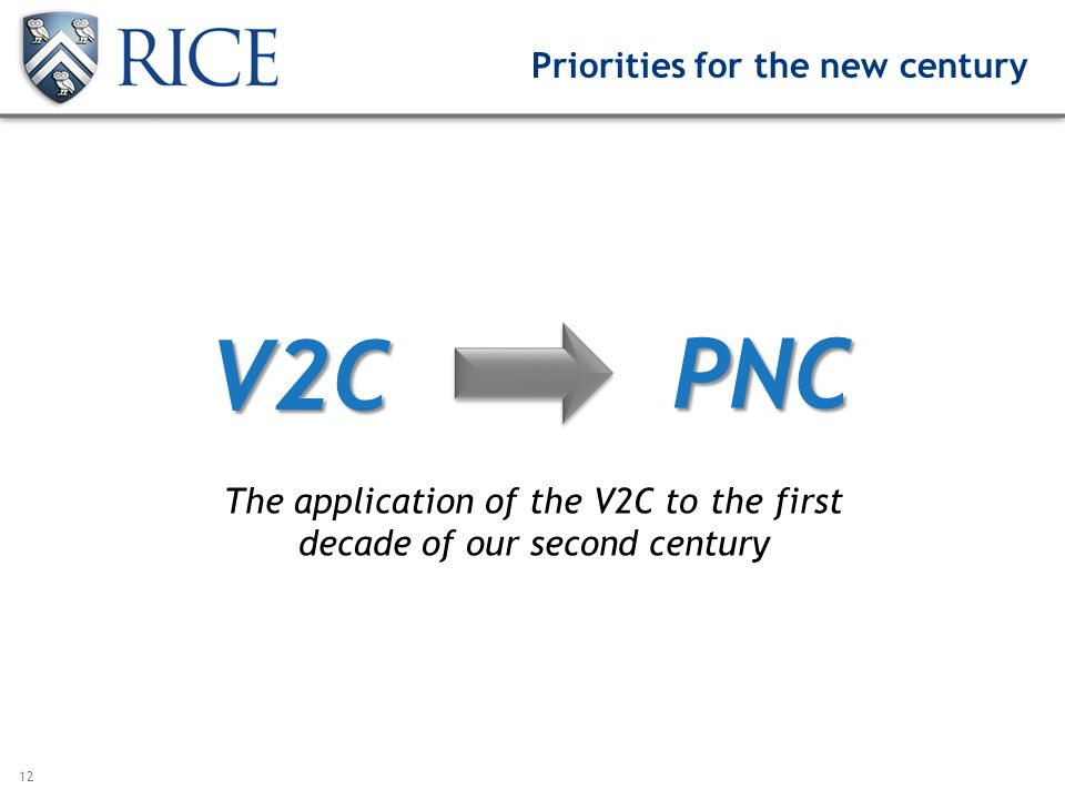12 V2C PNC The application of the V2C to the first decade of our second century Priorities for the new century