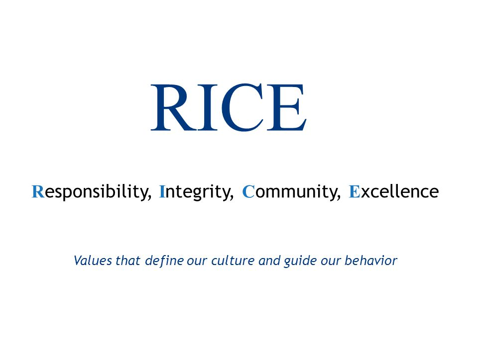 23 RICE R esponsibility, I ntegrity, C ommunity, E xcellence Values that define our culture and guide our behavior