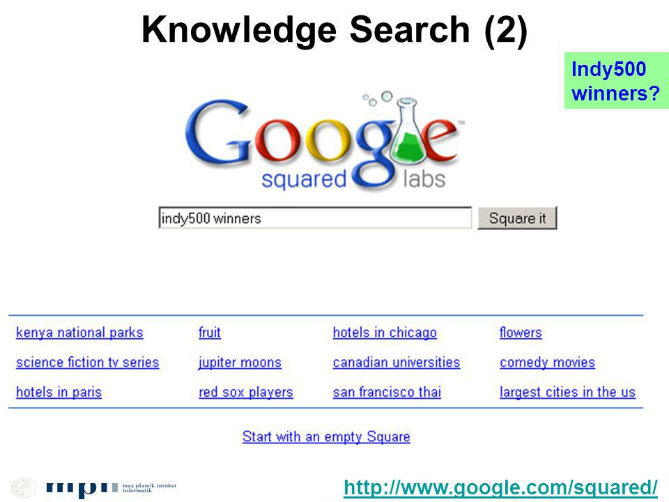 11/54 Knowledge Search (2) http://www.google.com/squared/ Indy500 winners