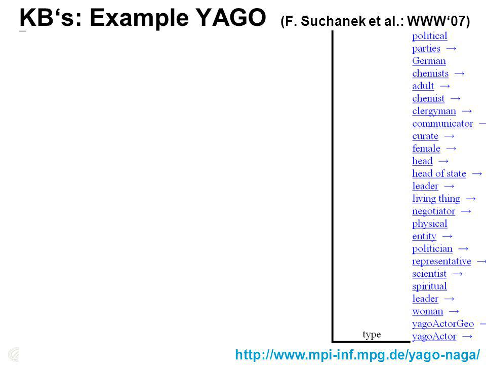 KBs: Example YAGO (F. Suchanek et al.: WWW07) http://www.mpi-inf.mpg.de/yago-naga/