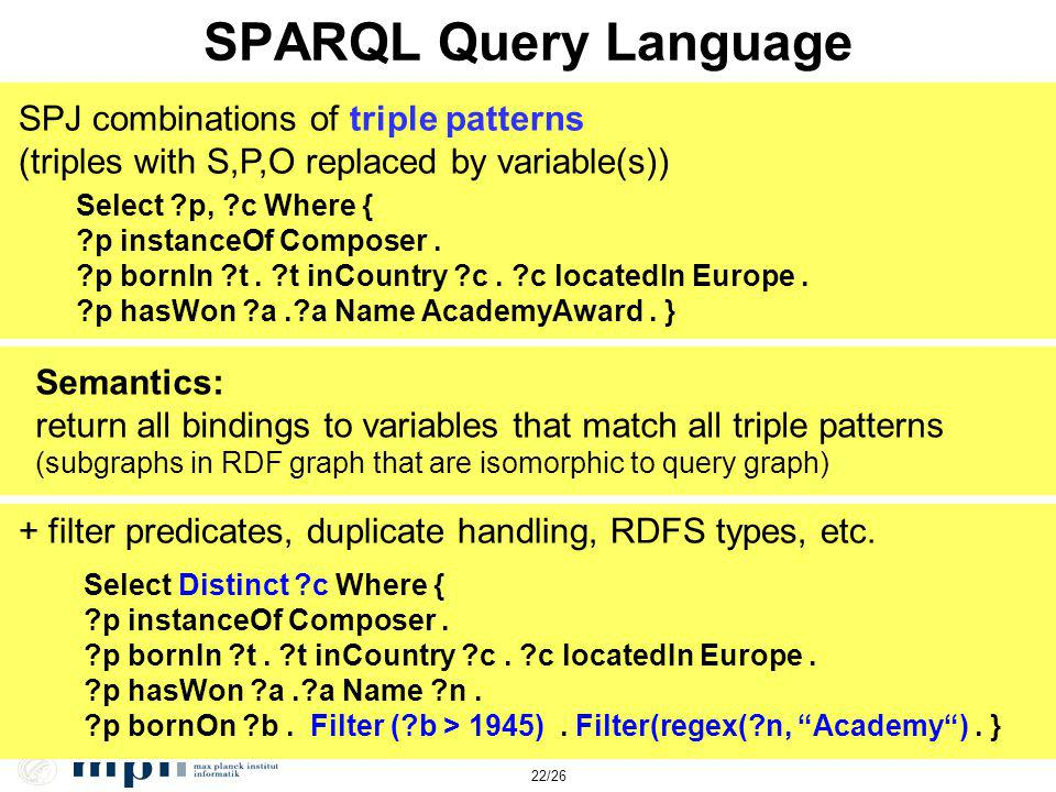 22/26 SPARQL Query Language SPJ combinations of triple patterns (triples with S,P,O replaced by variable(s)) Select ?p, ?c Where { ?p instanceOf Composer.