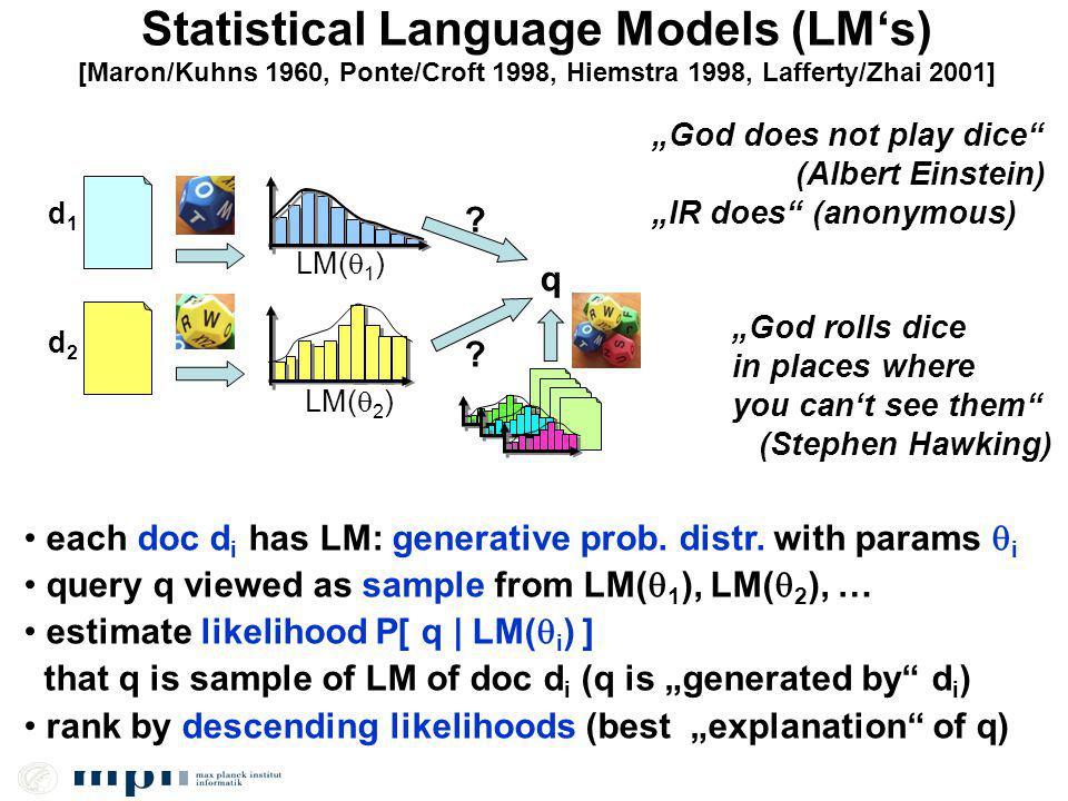 Statistical Language Models (LMs) q LM( 1 ) d1d1 d2d2 LM( 2 ) .
