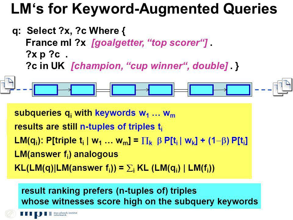 LMs for Keyword-Augmented Queries q: Select ?x, ?c Where { France ml ?x [goalgetter, top scorer].