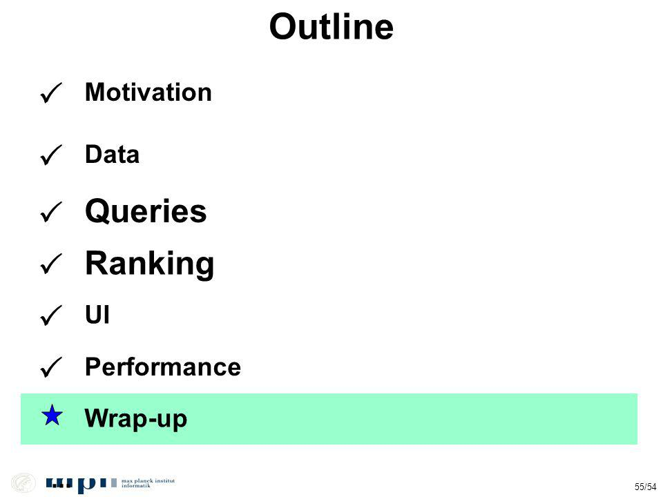 Outline... Data Queries Ranking Motivation 55/54 UI Performance Wrap-up
