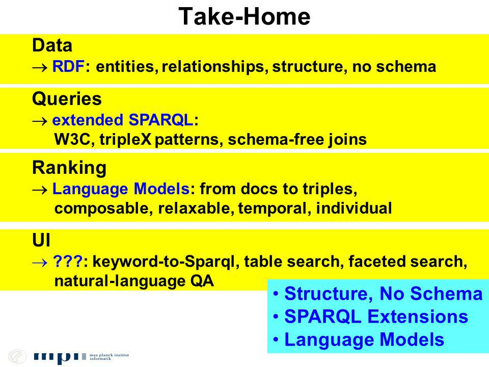 Take-Home Data RDF: entities, relationships, structure, no schema Queries extended SPARQL: W3C, tripleX patterns, schema-free joins Ranking Language Models: from docs to triples, composable, relaxable, temporal, individual UI : keyword-to-Sparql, table search, faceted search, natural-language QA Structure, No Schema SPARQL Extensions Language Models