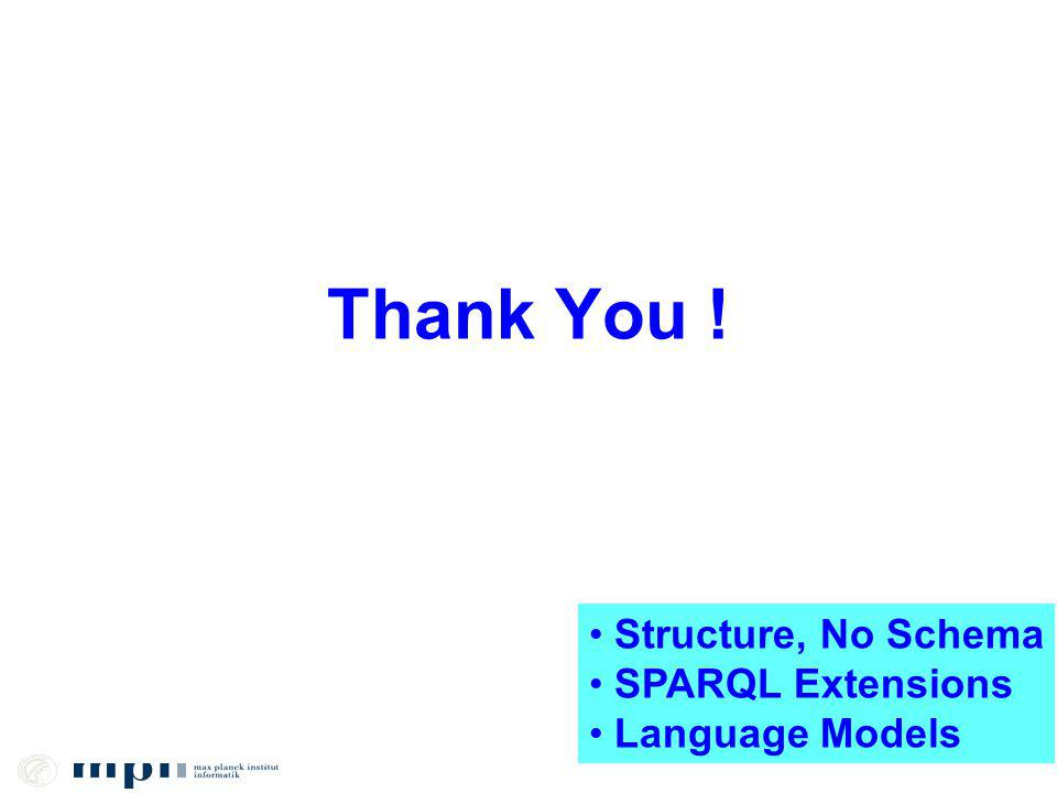 Thank You ! Structure, No Schema SPARQL Extensions Language Models