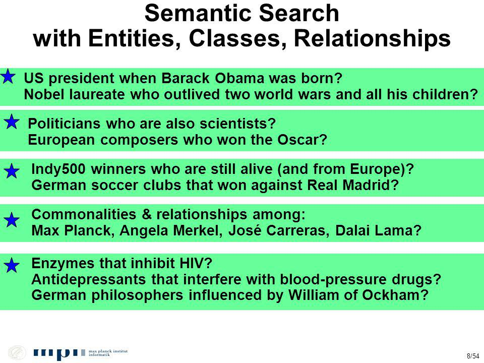 Semantic Search with Entities, Classes, Relationships Politicians who are also scientists? European composers who won the Oscar? Enzymes that inhibit