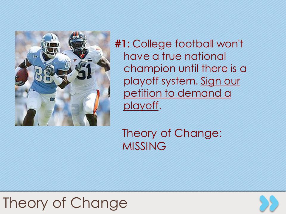 9 #1: College football won't have a true national champion until there is a playoff system. Sign our petition to demand a playoff. Theory of Change: M