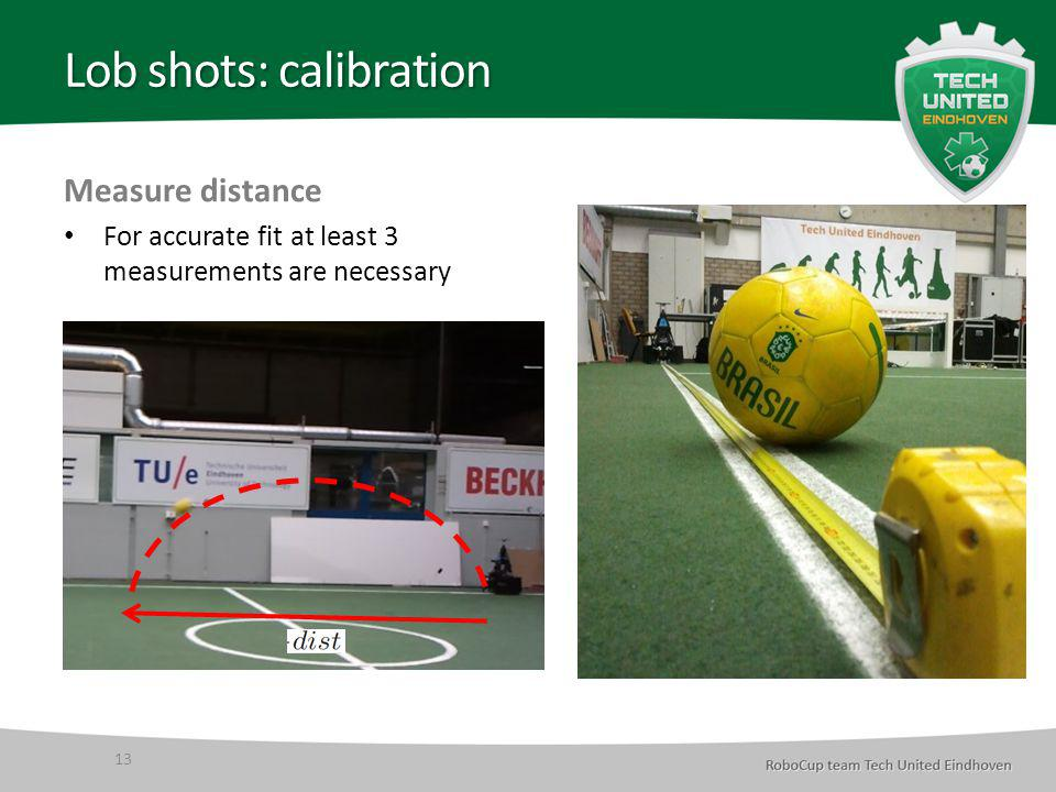 Lob shots: calibration Measure distance For accurate fit at least 3 measurements are necessary 13
