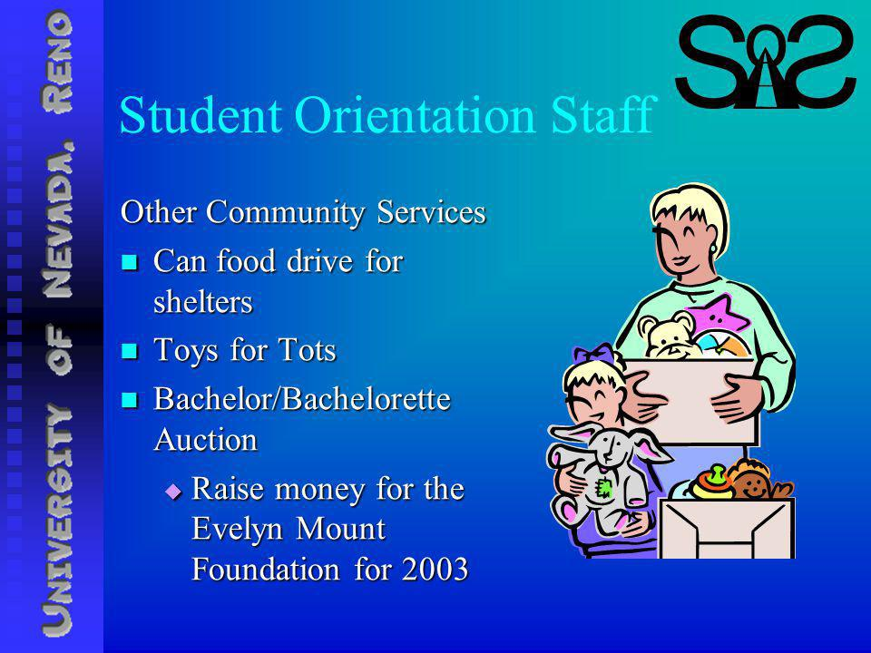 Student Orientation Staff Other Community Services Can food drive for shelters Can food drive for shelters Toys for Tots Toys for Tots Bachelor/Bachelorette Auction Bachelor/Bachelorette Auction Raise money for the Evelyn Mount Foundation for 2003 Raise money for the Evelyn Mount Foundation for 2003