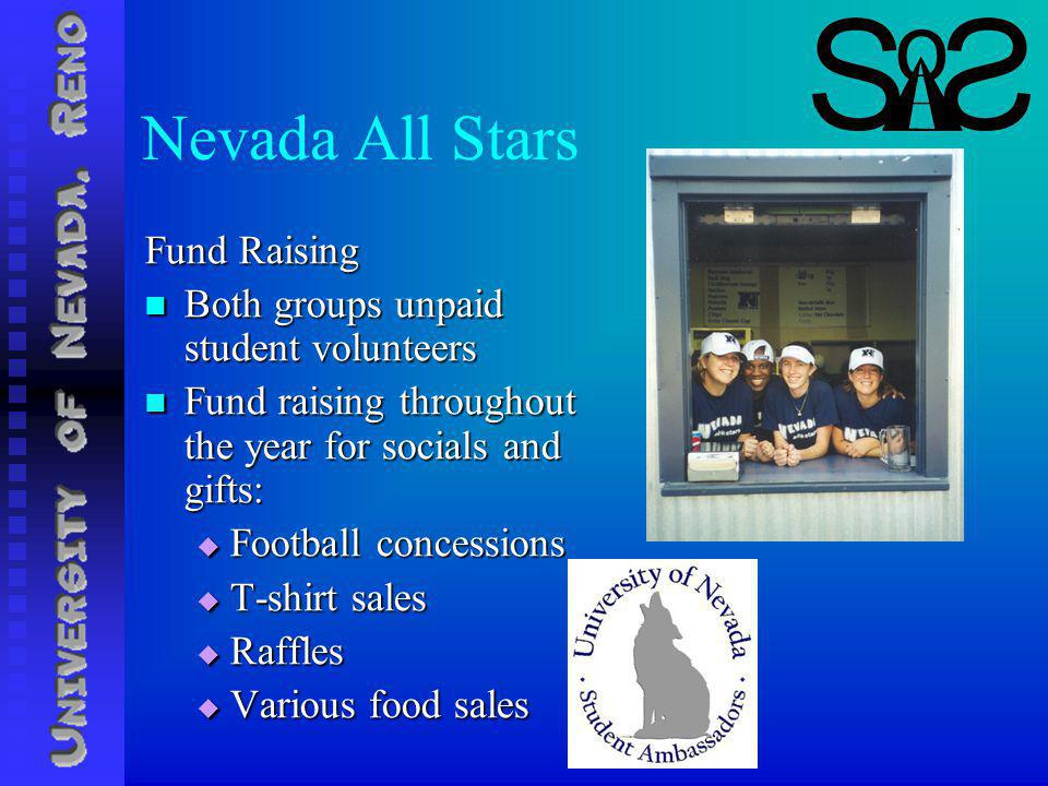 Nevada All Stars Fund Raising Both groups unpaid student volunteers Both groups unpaid student volunteers Fund raising throughout the year for socials and gifts: Fund raising throughout the year for socials and gifts: Football concessions Football concessions T-shirt sales T-shirt sales Raffles Raffles Various food sales Various food sales
