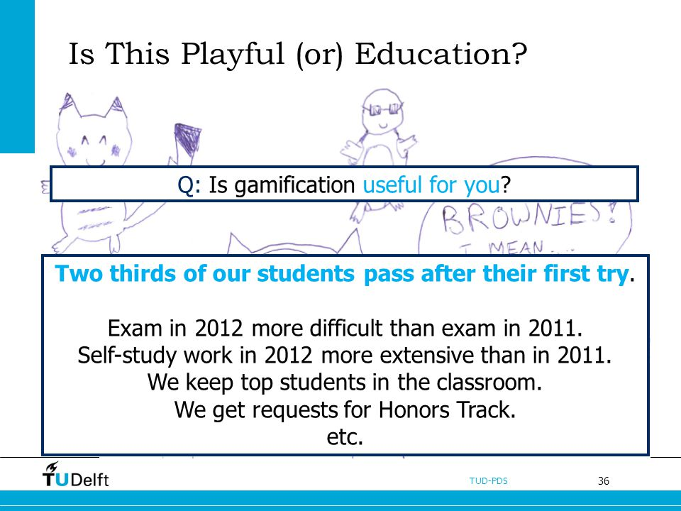 36 TUD-PDS Is This Playful (or) Education. Two thirds of our students pass after their first try.