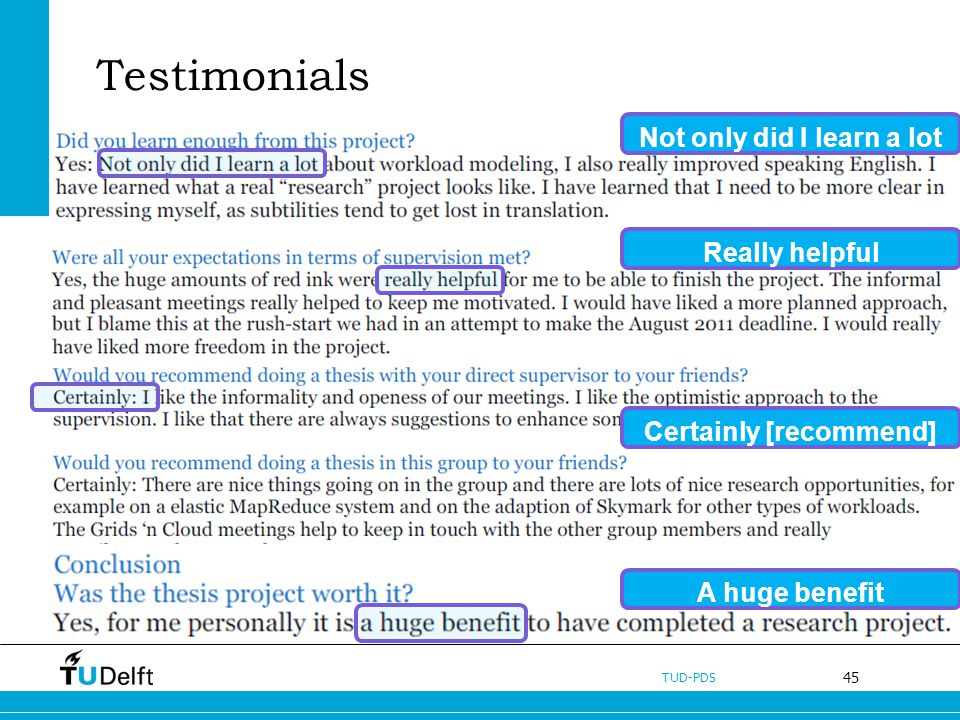 45 TUD-PDS Testimonials Not only did I learn a lot Really helpful Certainly [recommend] A huge benefit