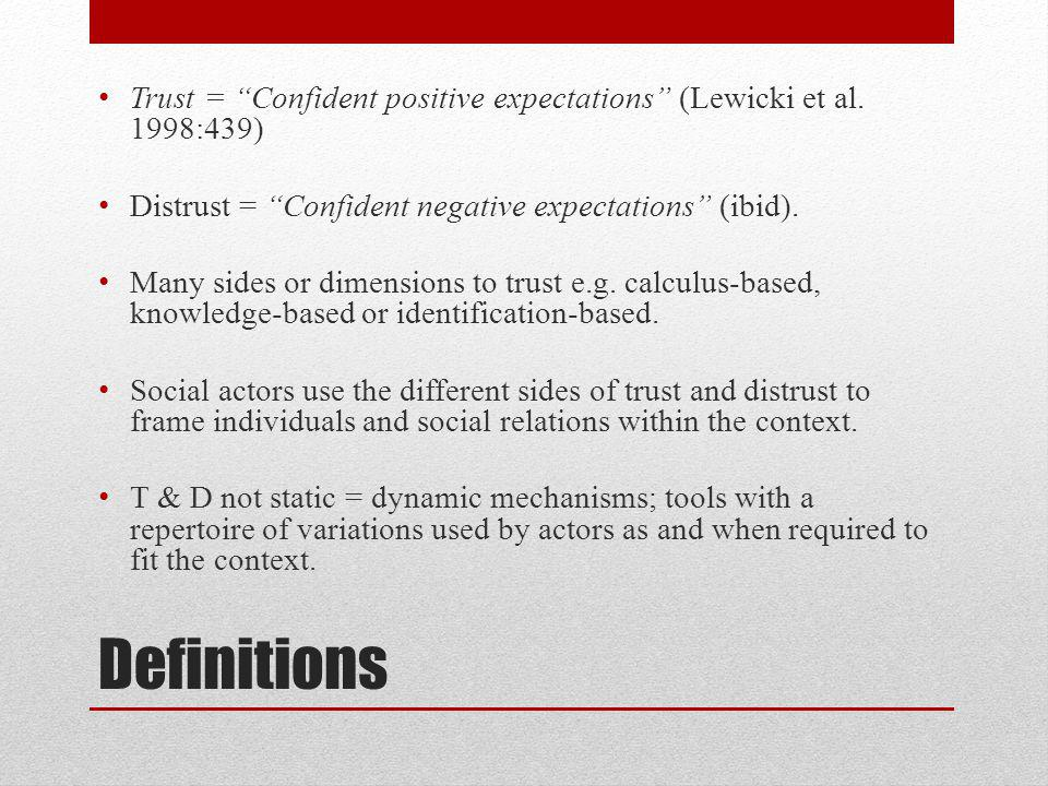 Definitions Trust = Confident positive expectations (Lewicki et al.