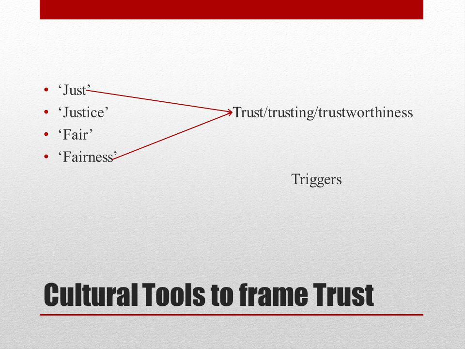 Cultural Tools to frame Trust Just Justice Trust/trusting/trustworthiness Fair Fairness Triggers