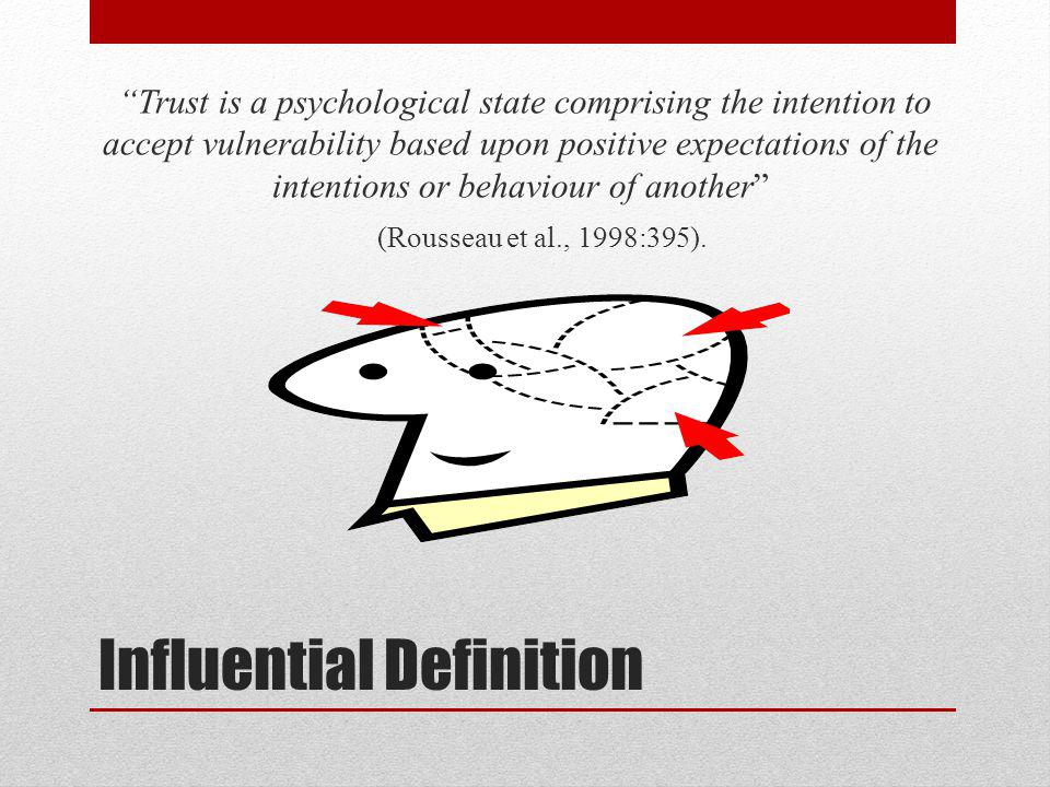 Influential Definition Trust is a psychological state comprising the intention to accept vulnerability based upon positive expectations of the intentions or behaviour of another (Rousseau et al., 1998:395).