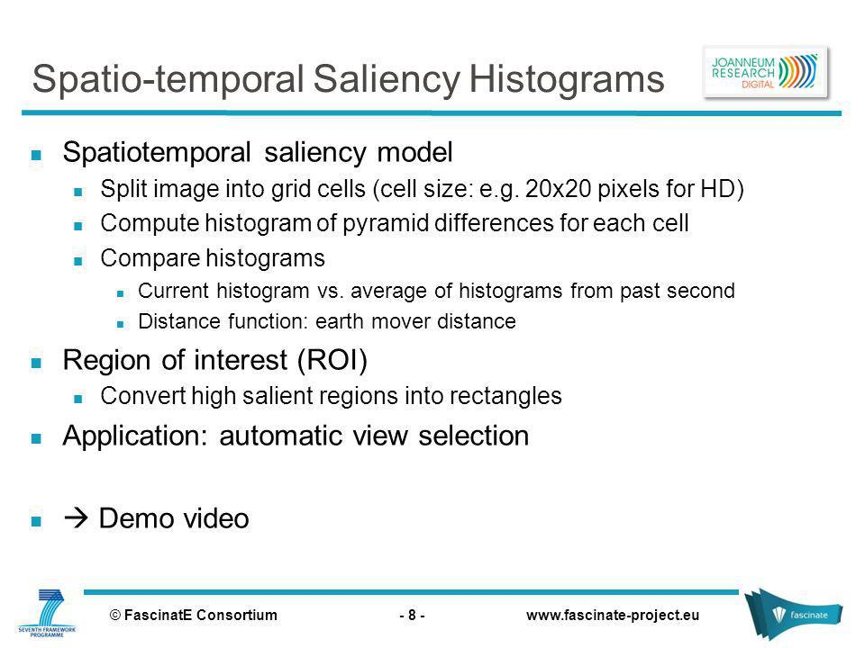 © FascinatE Consortium - 8 - www.fascinate-project.eu Spatio-temporal Saliency Histograms Spatiotemporal saliency model Split image into grid cells (cell size: e.g.