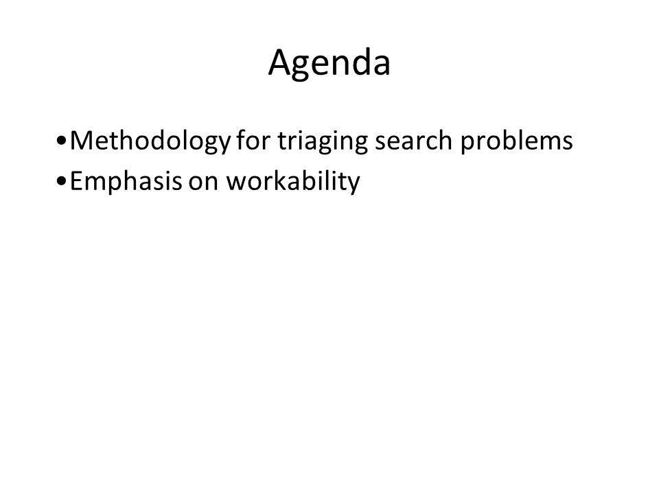 Agenda Methodology for triaging search problems Emphasis on workability