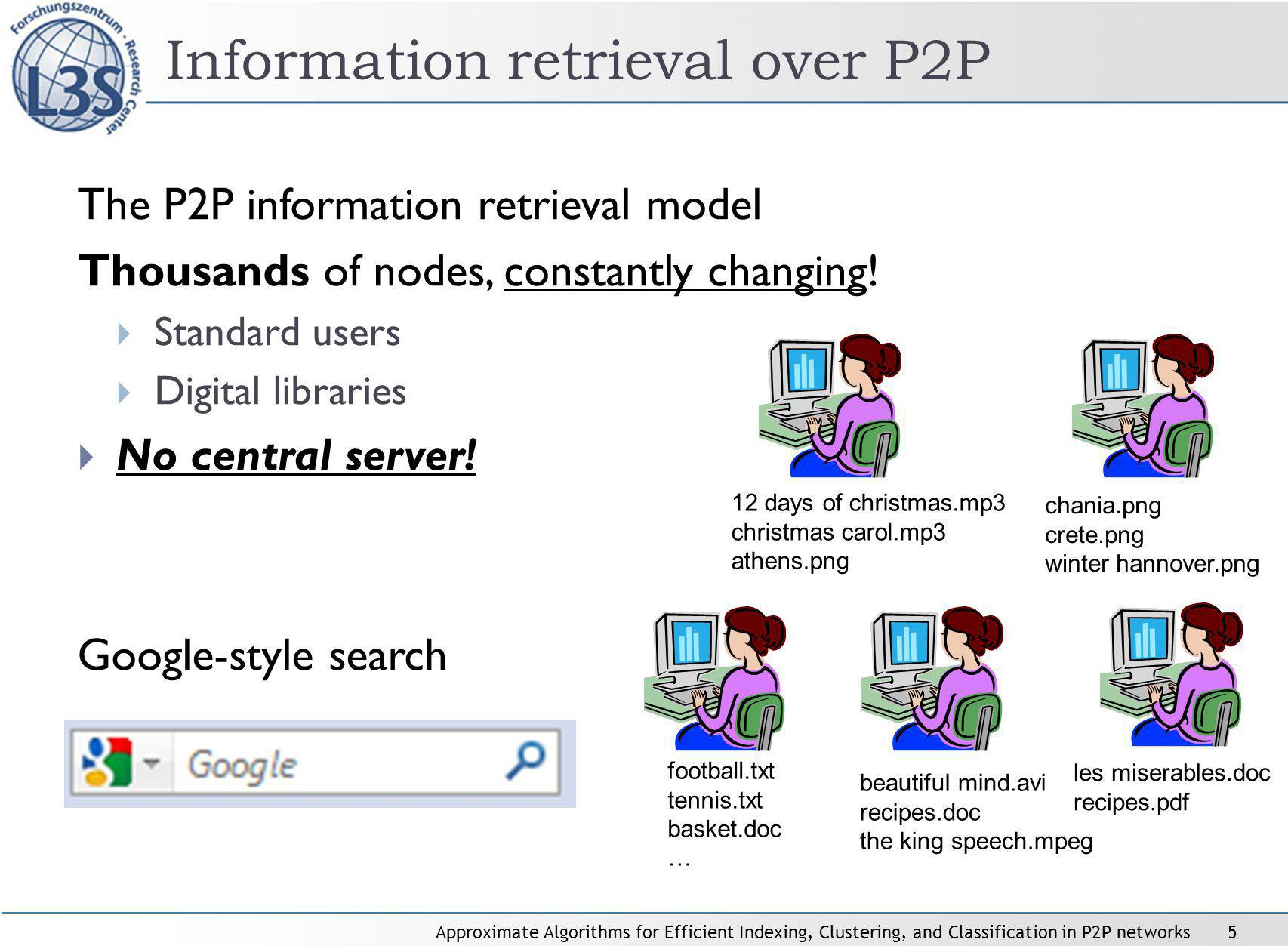 Approximate Algorithms for Efficient Indexing, Clustering, and Classification in P2P networks5 Information retrieval over P2P The P2P information retrieval model Thousands of nodes, constantly changing.