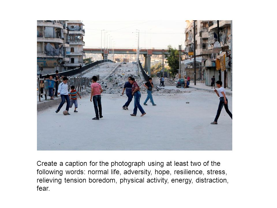 Photo credit and caption Photo: Children play football beside Al-Sakhour frontline in Aleppo April 26 2014 © Hosam Katan / Reuters Important legal note This photograph is fully protected by copyright.
