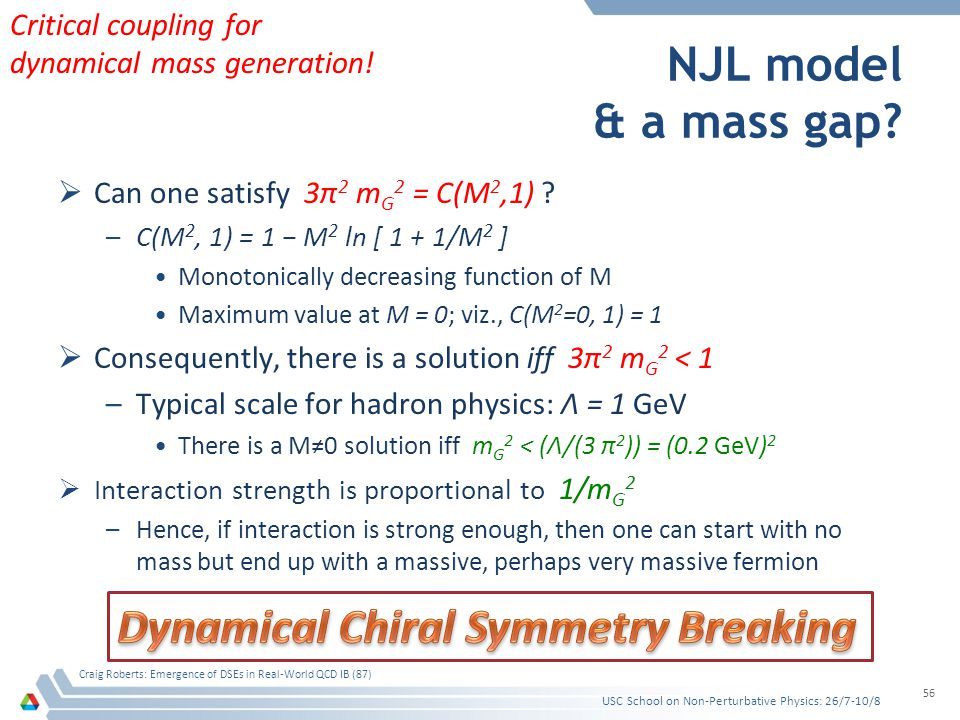 NJL model & a mass gap? Can one satisfy 3π 2 m G 2 = C(M 2,1) ? –C(M 2, 1) = 1 M 2 ln [ 1 + 1/M 2 ] Monotonically decreasing function of M Maximum val