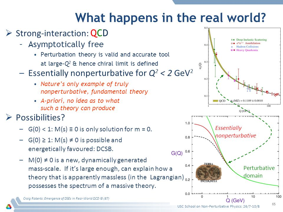 What happens in the real world? Strong-interaction: QCD –Asymptotically free Perturbation theory is valid and accurate tool at large-Q 2 & hence chira
