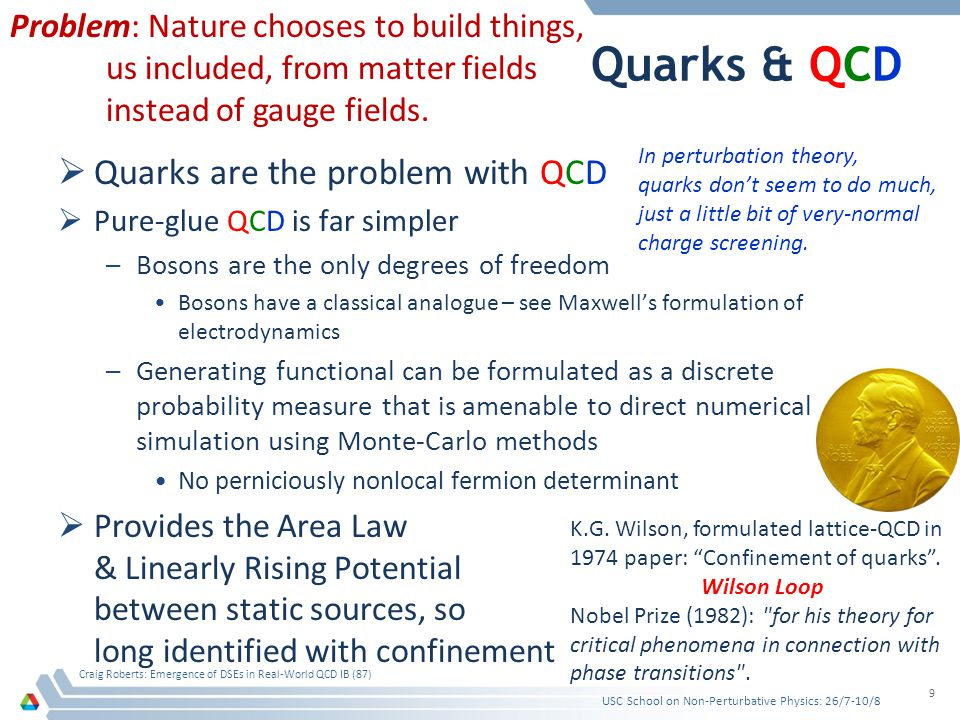 Quarks & QCD Quarks are the problem with QCD Pure-glue QCD is far simpler –Bosons are the only degrees of freedom Bosons have a classical analogue – s