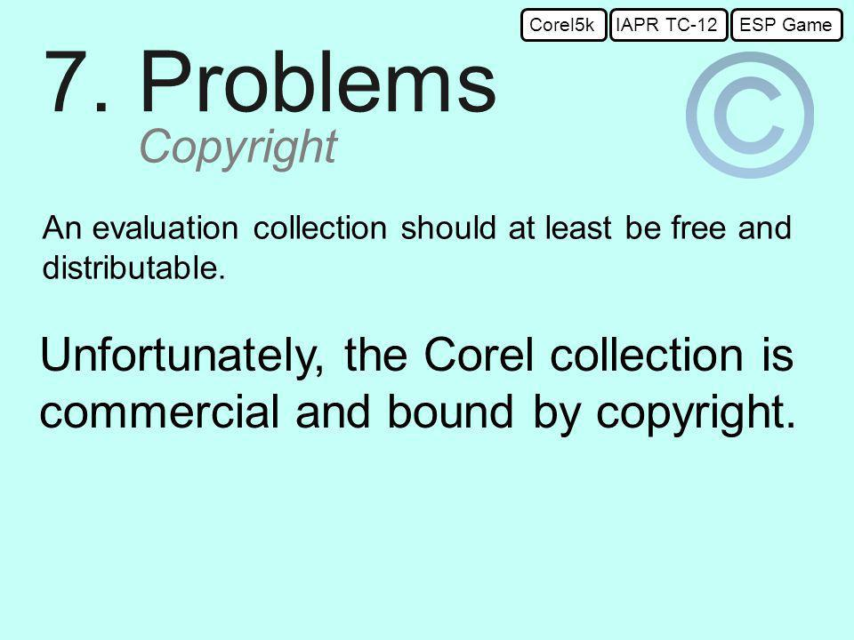 7. Problems Copyright An evaluation collection should at least be free and distributable.