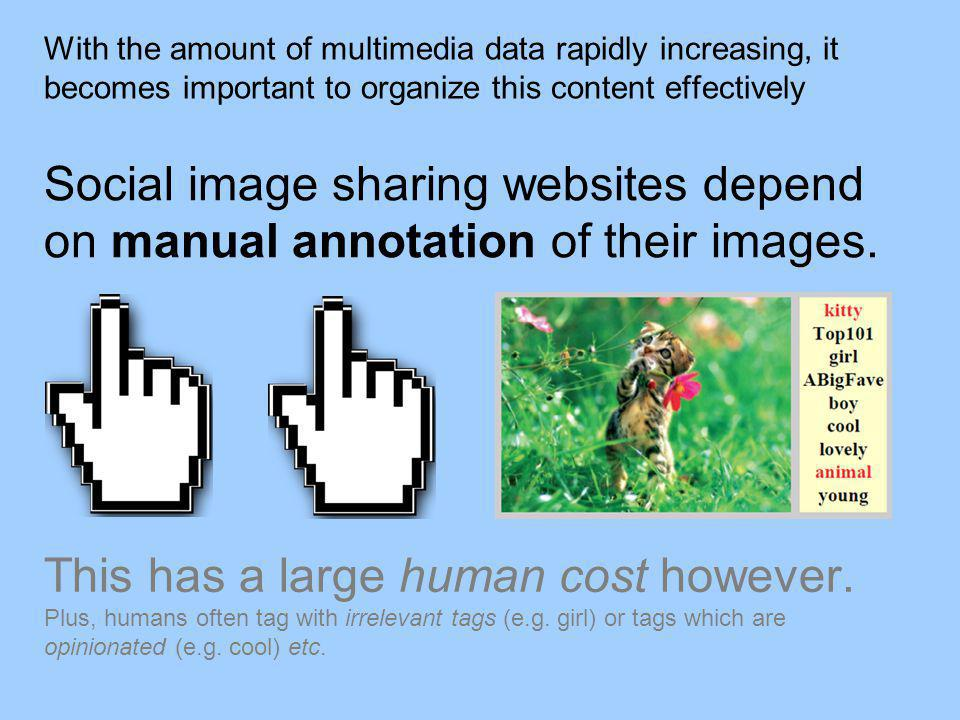 With the amount of multimedia data rapidly increasing, it becomes important to organize this content effectively Social image sharing websites depend on manual annotation of their images.