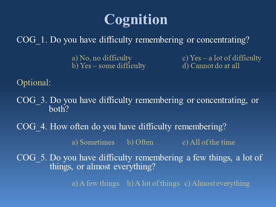 Cognition COG_1. Do you have difficulty remembering or concentrating.