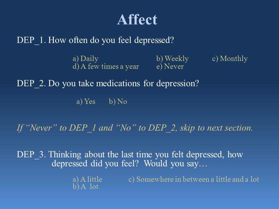 Affect DEP_1. How often do you feel depressed.