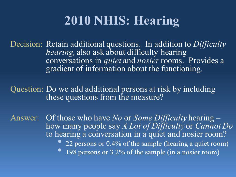 2010 NHIS: Hearing Decision:Retain additional questions. In addition to Difficulty hearing, also ask about difficulty hearing conversations in quiet a