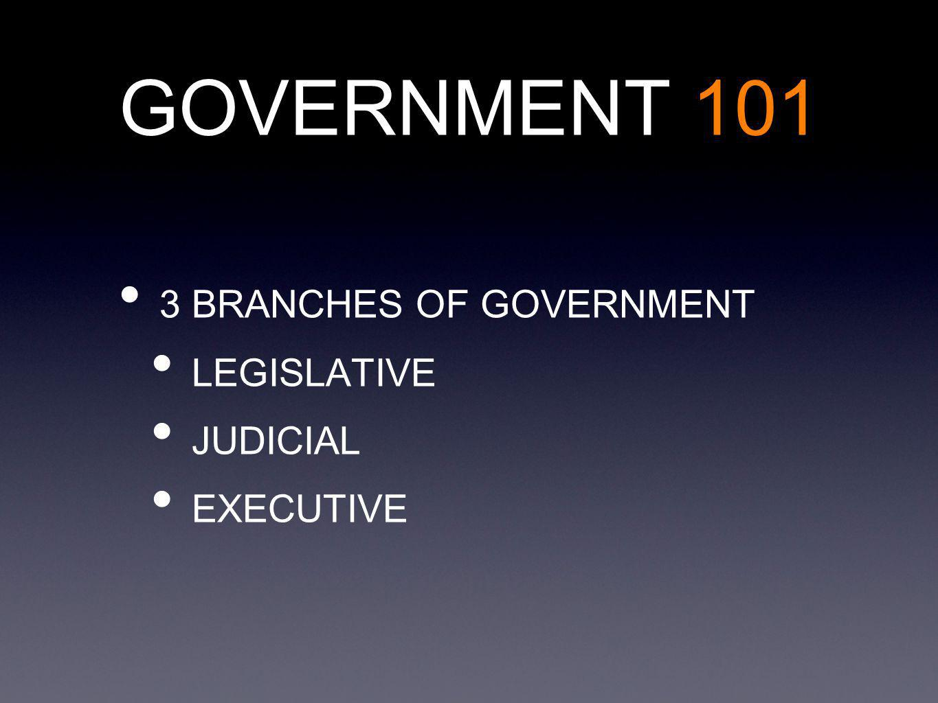 3 BRANCHES OF GOVERNMENT LEGISLATIVE JUDICIAL EXECUTIVE GOVERNMENT 101