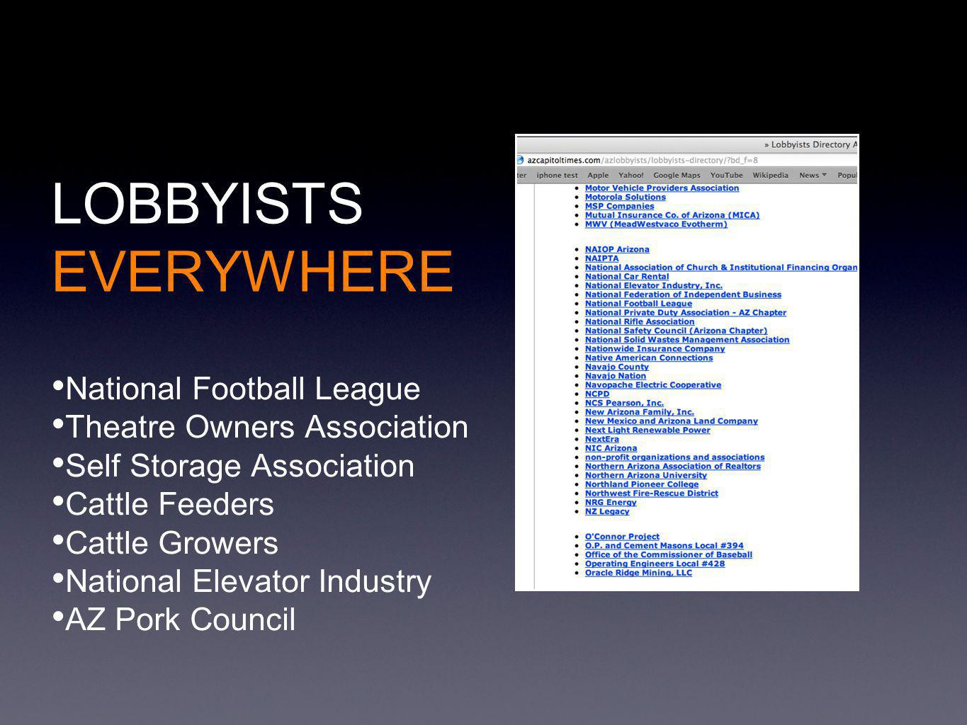 LOBBYISTS EVERYWHERE National Football League Theatre Owners Association Self Storage Association Cattle Feeders Cattle Growers National Elevator Industry AZ Pork Council