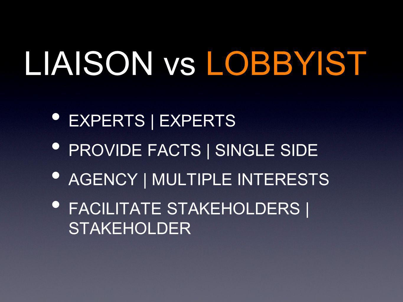 LIAISON vs LOBBYIST EXPERTS | EXPERTS PROVIDE FACTS | SINGLE SIDE AGENCY | MULTIPLE INTERESTS FACILITATE STAKEHOLDERS | STAKEHOLDER