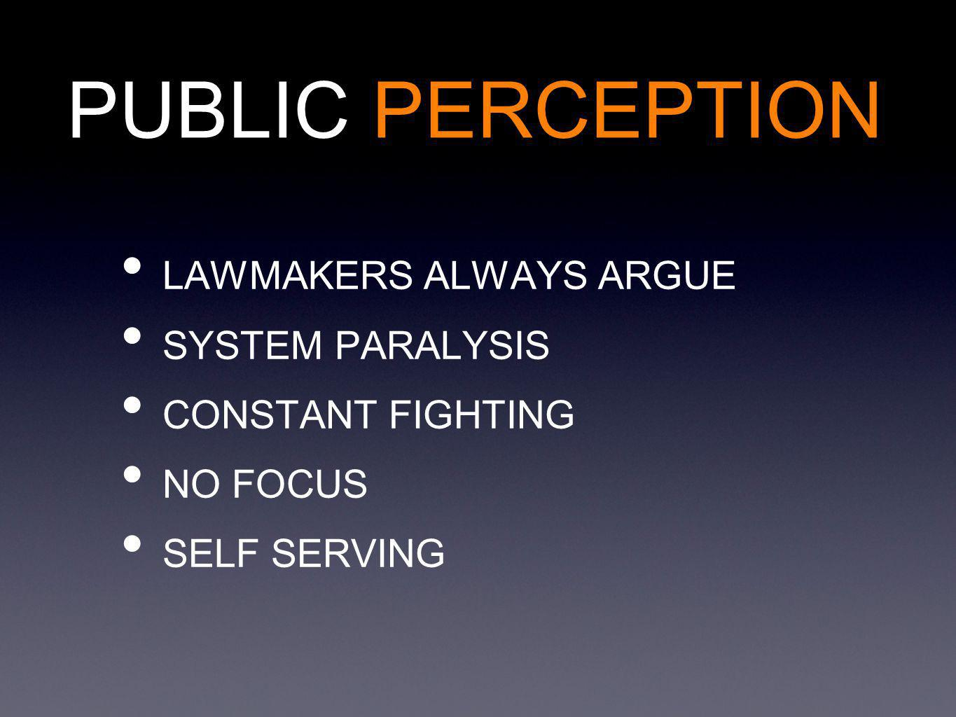 PUBLIC PERCEPTION LAWMAKERS ALWAYS ARGUE SYSTEM PARALYSIS CONSTANT FIGHTING NO FOCUS SELF SERVING