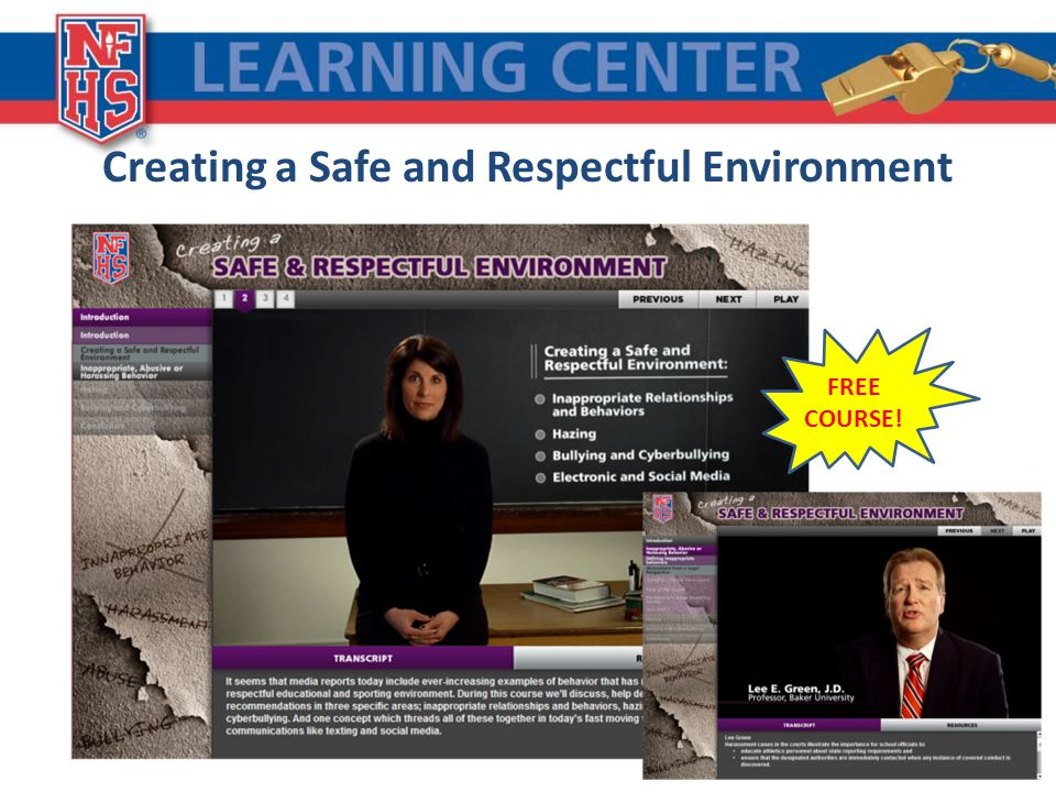 Creating a Safe and Respectful Environment FREE COURSE!