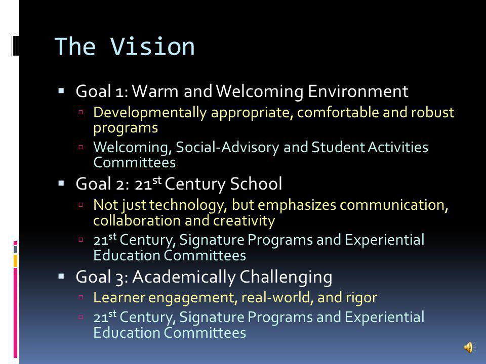 The Vision Goal 1: Warm and Welcoming Environment Developmentally appropriate, comfortable and robust programs Welcoming, Social-Advisory and Student Activities Committees Goal 2: 21 st Century School Not just technology, but emphasizes communication, collaboration and creativity 21 st Century, Signature Programs and Experiential Education Committees Goal 3: Academically Challenging Learner engagement, real-world, and rigor 21 st Century, Signature Programs and Experiential Education Committees