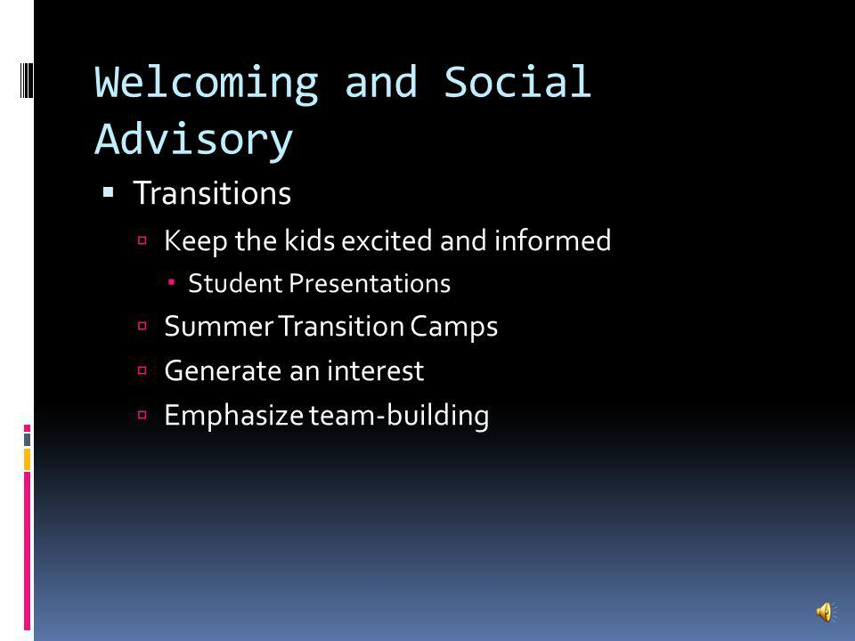 Goal 1: Welcoming and Social Advisory Parents want to be involved Formed committees with HSA officers on: Communication Regular emailed communication Volunteer Opportunities Signature Programs: Stream Study, Outdoor Education, Art Show ; Afterschool Clubs and Student Events