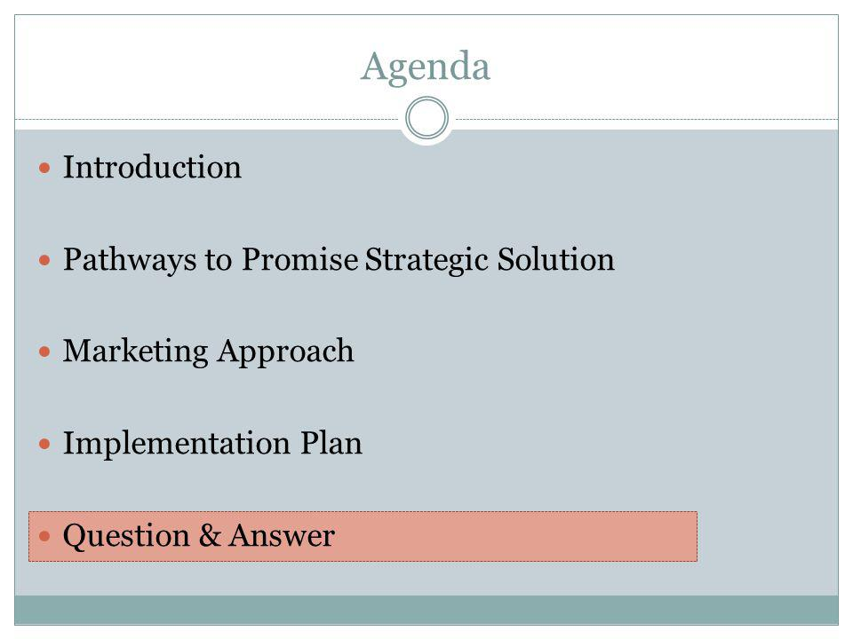 Introduction Pathways to Promise Strategic Solution Marketing Approach Implementation Plan Question & Answer Agenda