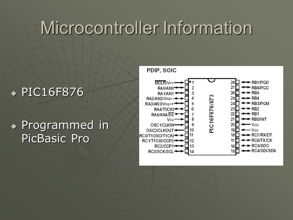 Microcontroller Information PIC16F876 PIC16F876 Programmed in PicBasic Pro Programmed in PicBasic Pro