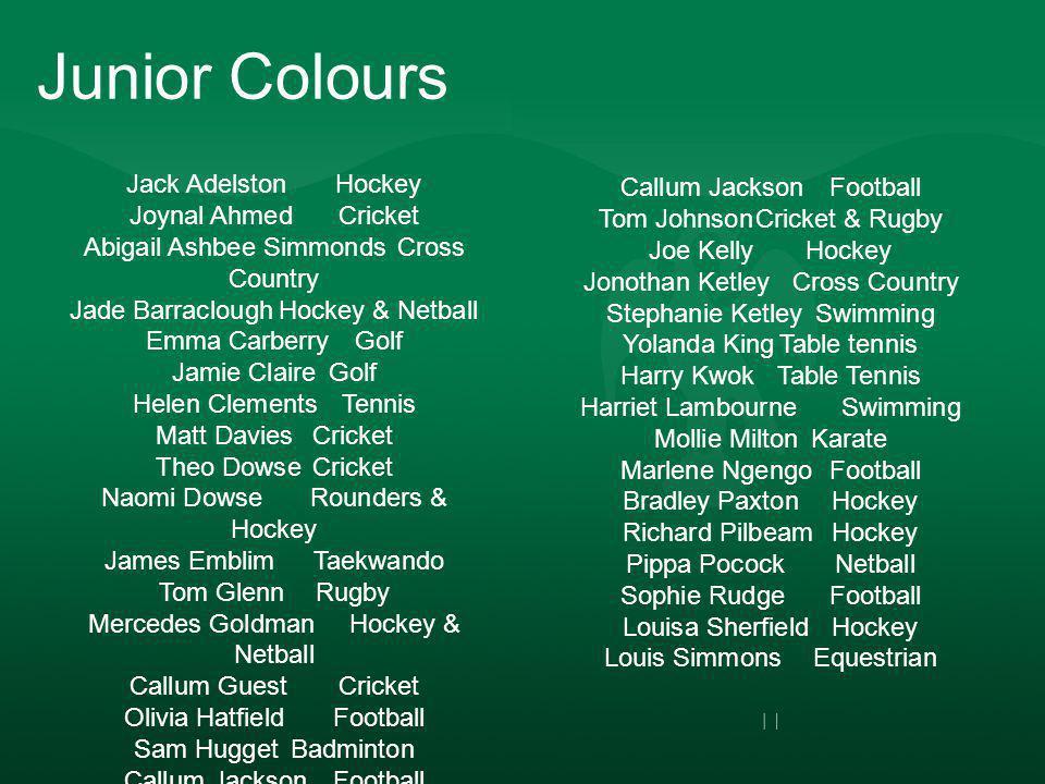 Junior Colours Callum JacksonFootball Tom JohnsonCricket & Rugby Joe KellyHockey Jonothan KetleyCross Country Stephanie KetleySwimming Yolanda KingTab
