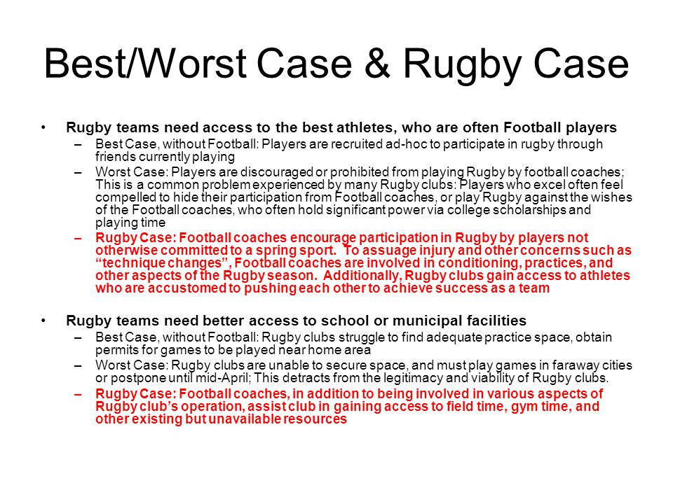 Best/Worst Case & Rugby Case Rugby teams need access to the best athletes, who are often Football players –Best Case, without Football: Players are recruited ad-hoc to participate in rugby through friends currently playing –Worst Case: Players are discouraged or prohibited from playing Rugby by football coaches; This is a common problem experienced by many Rugby clubs: Players who excel often feel compelled to hide their participation from Football coaches, or play Rugby against the wishes of the Football coaches, who often hold significant power via college scholarships and playing time –Rugby Case: Football coaches encourage participation in Rugby by players not otherwise committed to a spring sport.