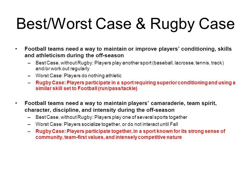 Best/Worst Case & Rugby Case Football teams need a way to maintain or improve players conditioning, skills and athleticism during the off-season –Best Case, without Rugby: Players play another sport (baseball, lacrosse, tennis, track) and/or work out regularly –Worst Case: Players do nothing athletic –Rugby Case: Players participate in a sport requiring superior conditioning and using a similar skill set to Football (run/pass/tackle) Football teams need a way to maintain players camaraderie, team spirit, character, discipline, and intensity during the off-season –Best Case, without Rugby: Players play one of several sports together –Worst Case: Players socialize together, or do not interact until Fall –Rugby Case: Players participate together, in a sport known for its strong sense of community, team-first values, and intensely competitive nature
