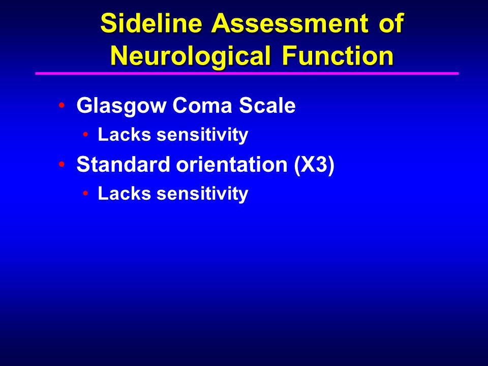 Sideline Assessment of Neurological Function Glasgow Coma Scale Lacks sensitivity Standard orientation (X3) Lacks sensitivity