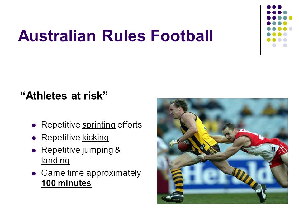 Australian Rules Football Athletes at risk Repetitive sprinting efforts Repetitive kicking Repetitive jumping & landing Game time approximately 100 minutes