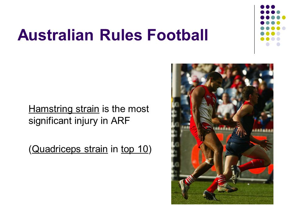 Australian Rules Football Hamstring strain is the most significant injury in ARF (Quadriceps strain in top 10)