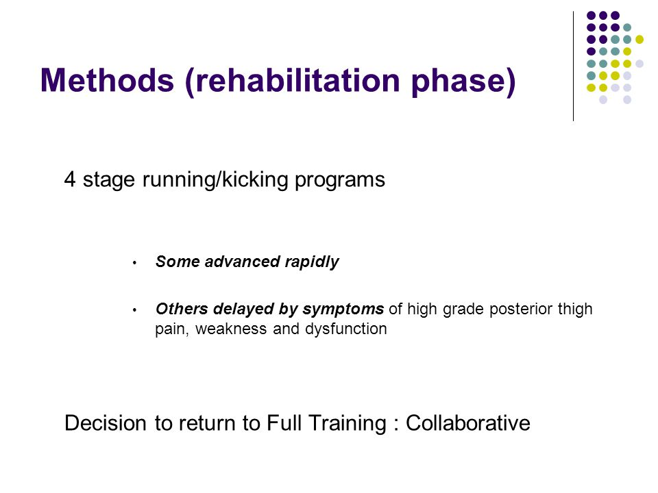 Methods (rehabilitation phase) 4 stage running/kicking programs Some advanced rapidly Others delayed by symptoms of high grade posterior thigh pain, weakness and dysfunction Decision to return to Full Training : Collaborative